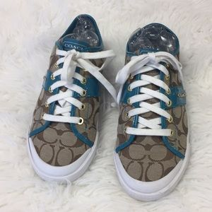 Coach sneakers with turquoise detail Sz 9